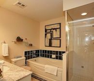 Master Bathroom Soaker Tub Fully Furnished Apartment Suite North York