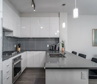 Kitchen Fully Equipped Five Appliances Stainless Steel Fully Furnished Condo Suite Richmond