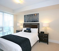2116-Master Bedroom Queen Mattress Fully Furnished Apartment Suite Midtown Toronto