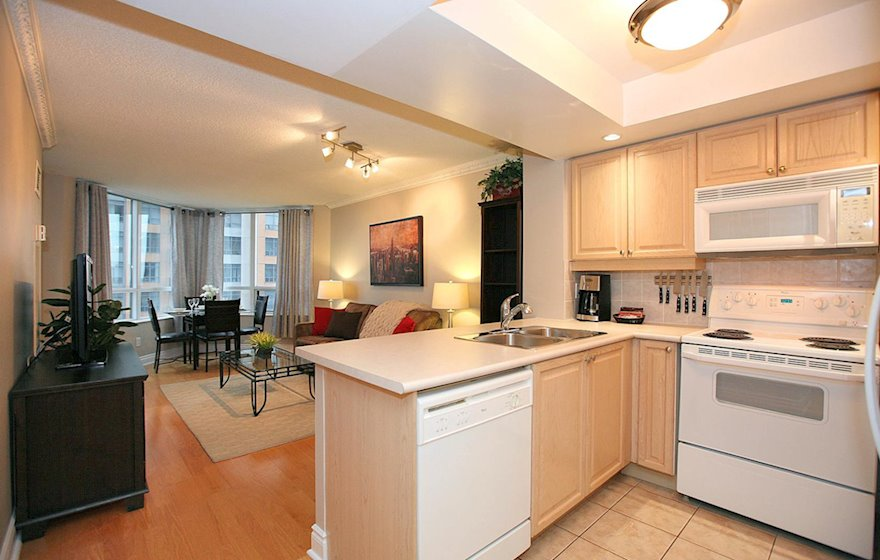Kitchen Living Fully Furnished Apartment Suite North York