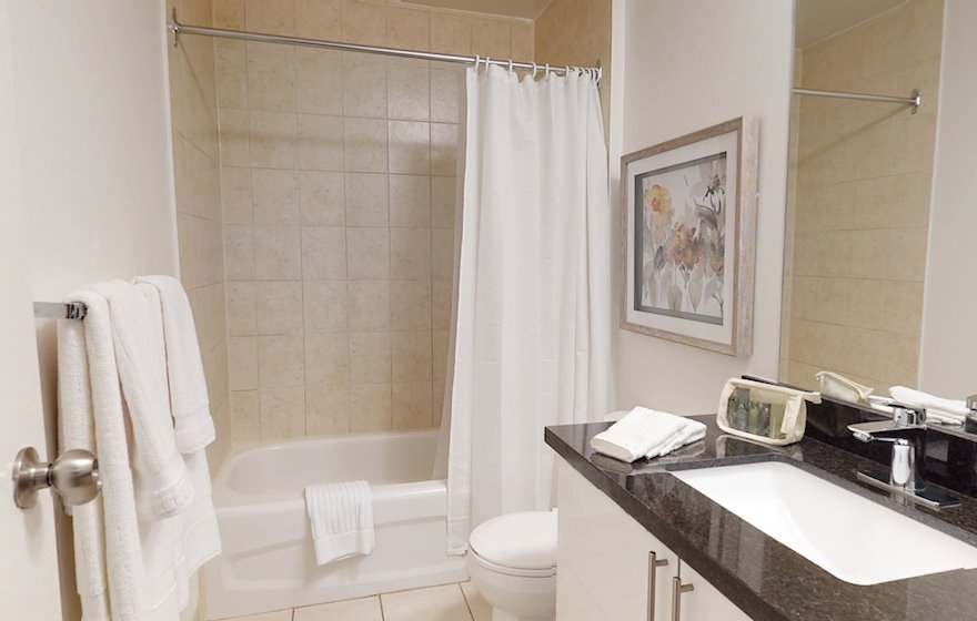 Master Bathroom 3 Piece Fully Furnished Apartment Suite Midtown Toronto