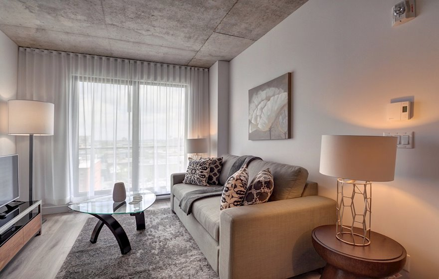 Living Room Fully Furnished Apartment Suite Le M2 Montreal Quebec