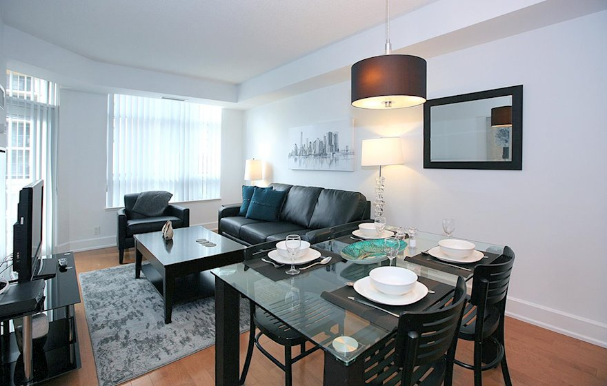 Living Room Free WiFi Fully Furnished Apartment Suite North York