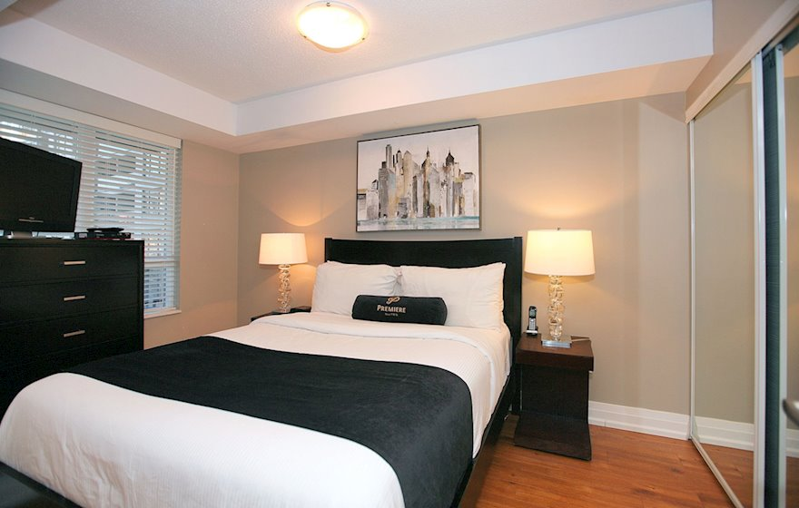Master Bedroom Queen Mattress Fully Furnished Apartment Suite Toronto