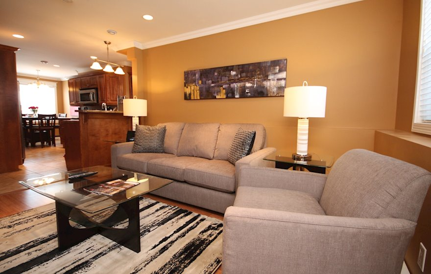 Living Room Free WiFi Fully Furnished Apartment Suite Bond Street Townhouse St. John's, NL