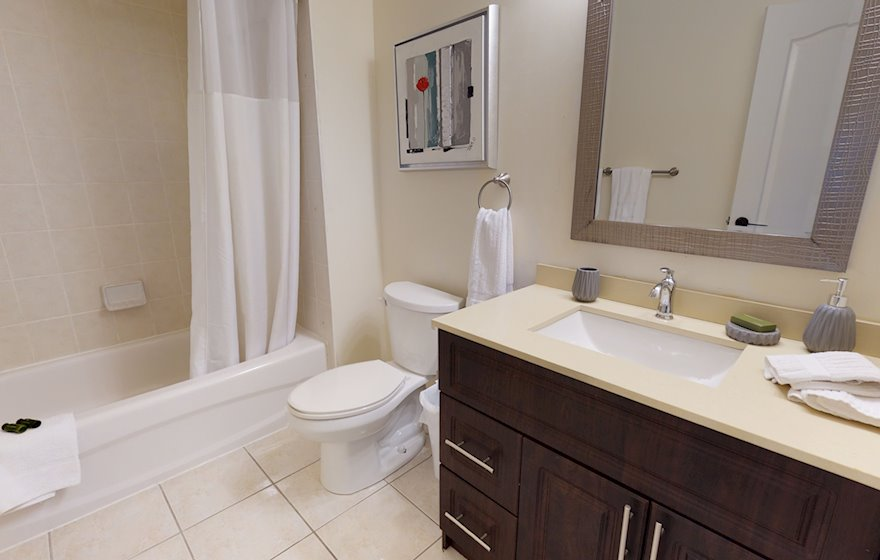 Bathroom Soaker Tub Fully Furnished Apartment Suite Mississauga