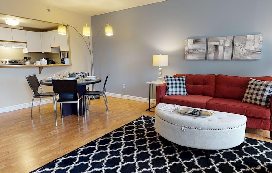 Open Space Living Room Dining Room Fully Furnished Apartment Suite Halifax NS