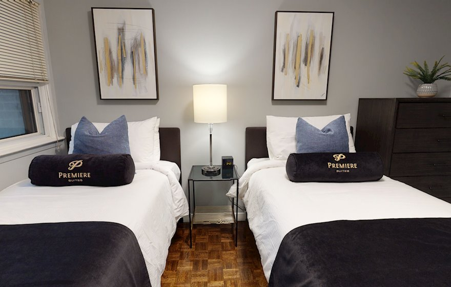 Third Bedroom Queen Mattress Fully Furnished Apartment Suite Midtown Toronto