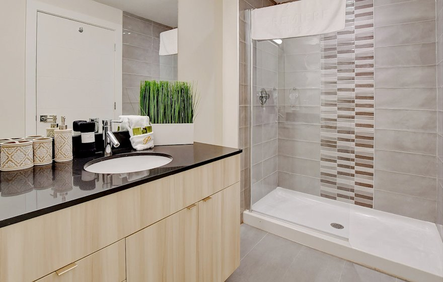 Master Bathroom Walk In Shower Fully Furnished Apartment Suite Dartmouth NS