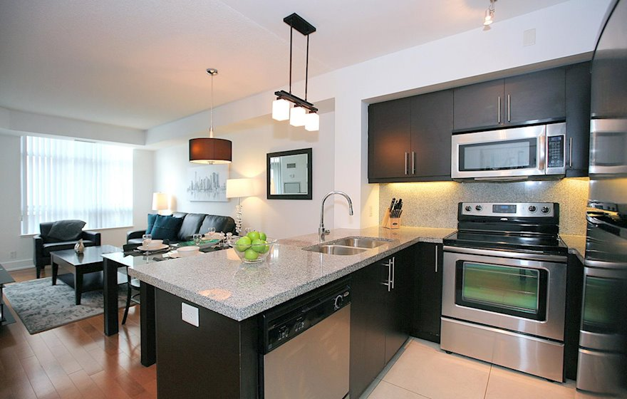 Kitchen/Living Room Fully Equipped Five Appliances Stainless Steel North York