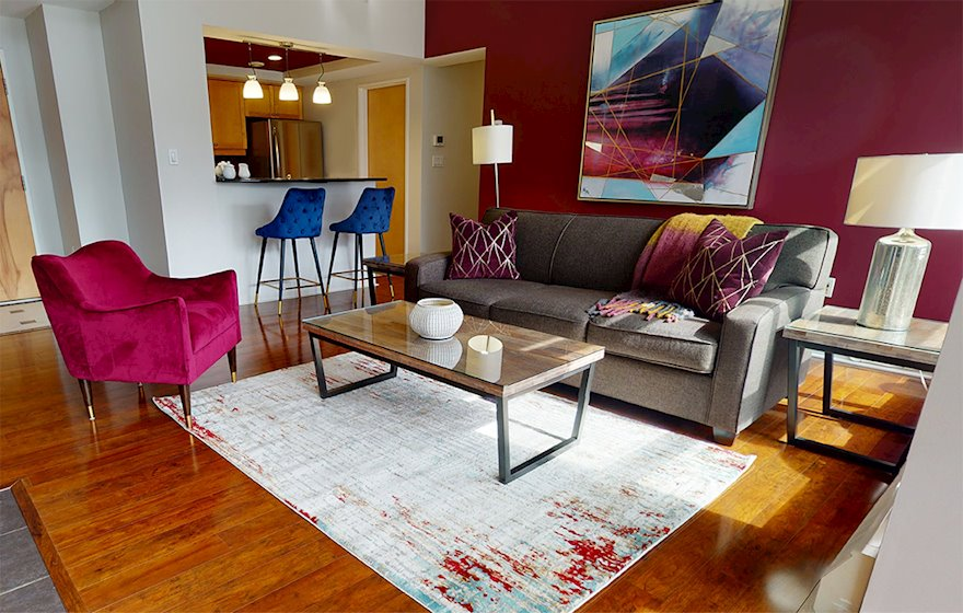 Living Room Free WiFi Fully Furnished Apartment Waterview Suite Halifax NS