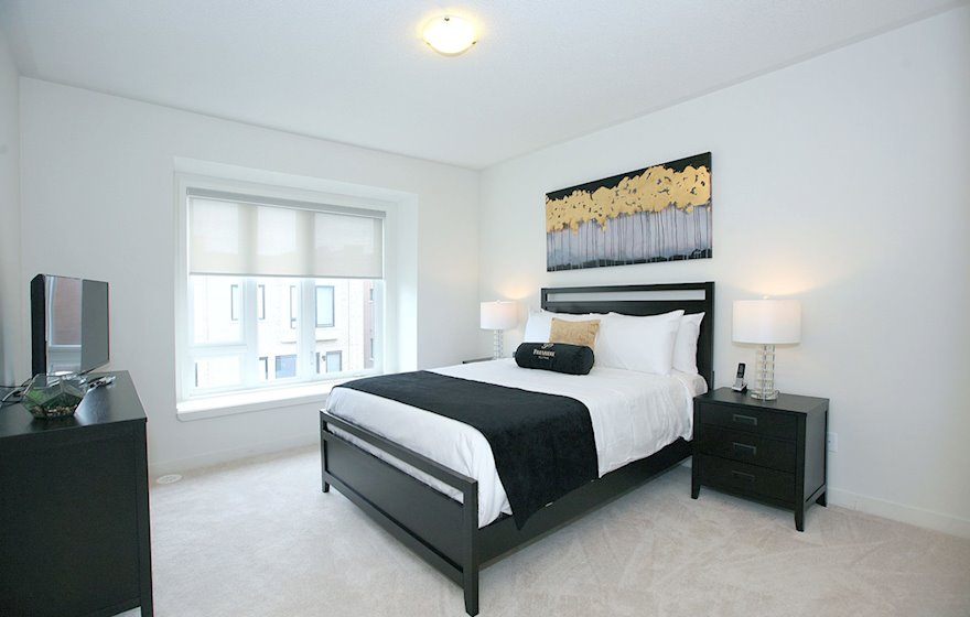 Master Bedroom Queen Mattress Fully Furnished Apartment Suite Maple