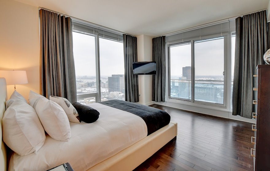Master Bedroom Queen Mattress Fully Furnished Apartment Suite  Le V Montreal Quebec
