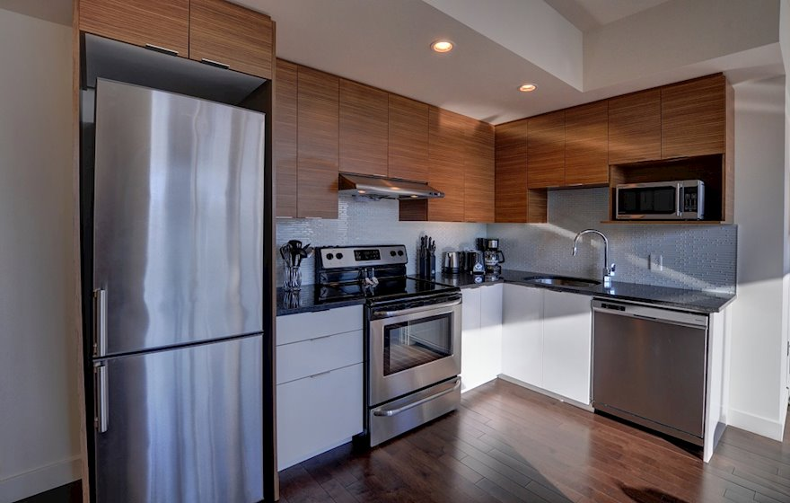 Fully Equipped Kitchen Fully Furnished Suite Le V Montreal Quebec