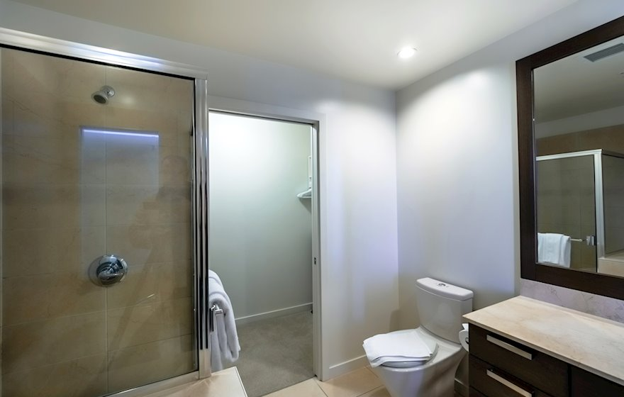 Bathroom with Walk-In Shower Full Furnished Apartment DSGS 407B Victoria