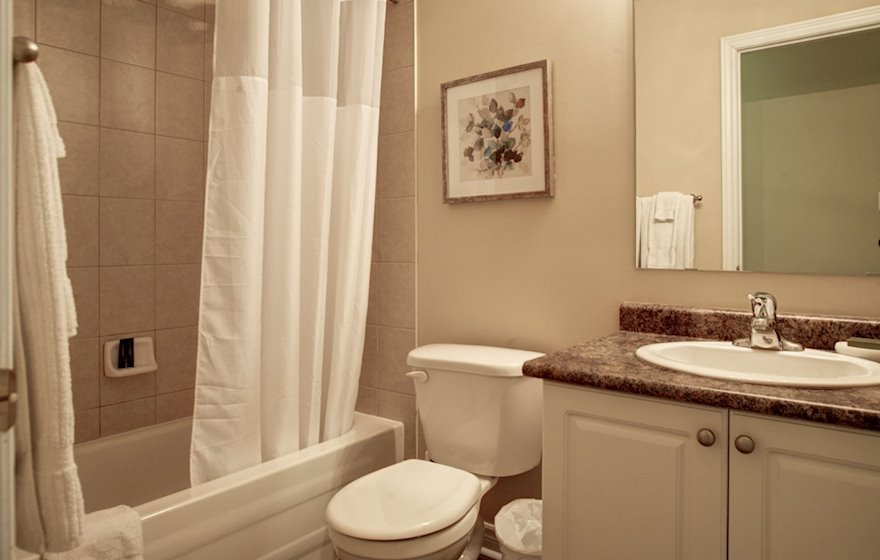 Master Bathroom Soaker Tub Fully Furnished Apartment Suite Oakville