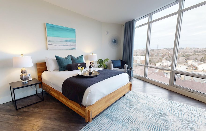 Second Bedroom Queen Mattress Fully Furnished Apartment Suite Halifax NS