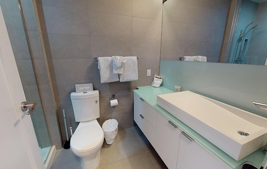 Bathroom Walk In Shower Fully Furnished Apartment Suite Toronto