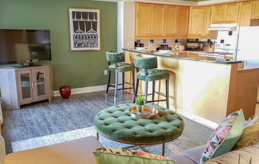 Kitchen Fully Furnished Appliances  WiFi Fully Furnished Apartment Suite Winchester Plaza Halifax NS