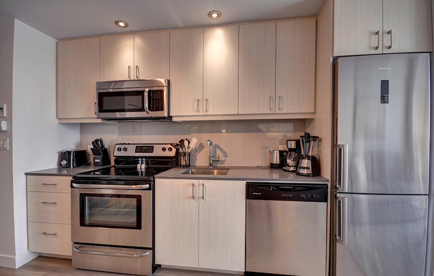 Kitchen Fully Equipped Four Appliances Stainless Steel Le M2 Montreal Quebec
