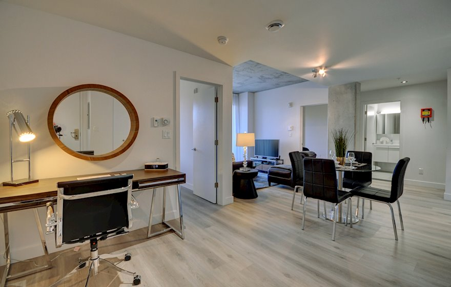 Living Room Fully Furnished Apartment Le M2 Montreal Quebec