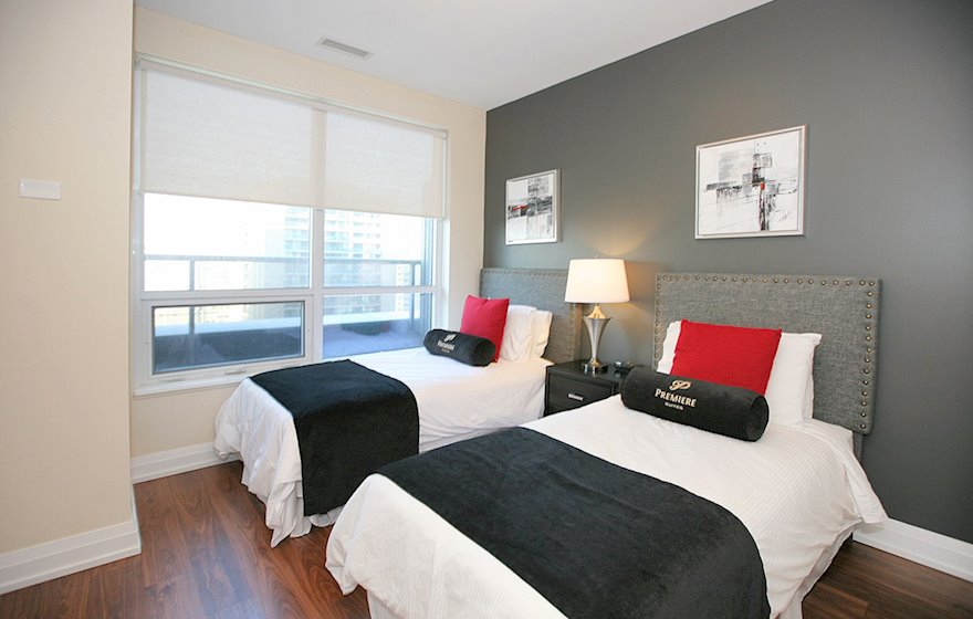1722-Second Bedroom Two Twin Beds Fully Furnished Apartment Suite North York