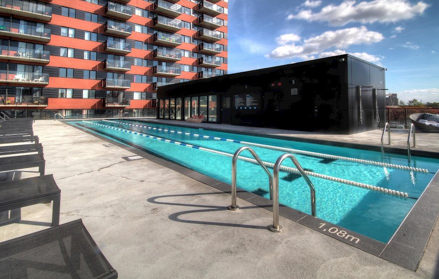 Outdoor Swimming Pool Common Area Free Access Hexagone Montreal Quebec