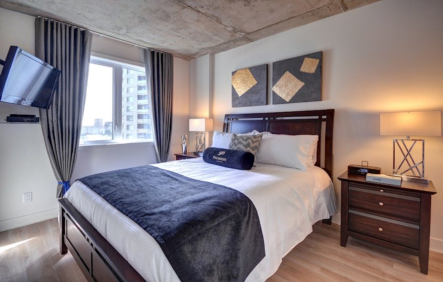 Master Bedroom Queen Mattress Fully Furnished Apartment Suite Hexagone Montreal Quebec